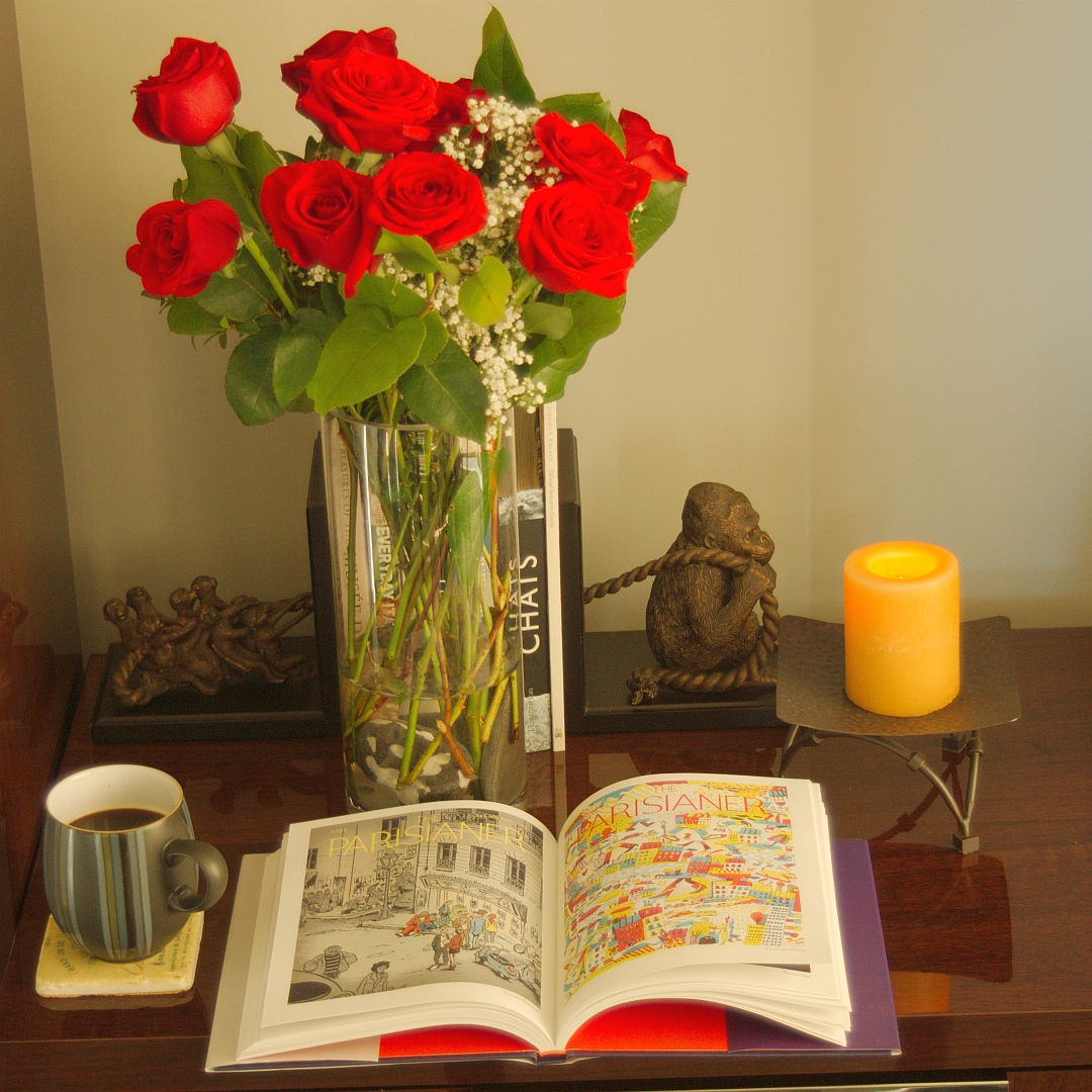 A little Valentine Day reading with coffee and roses.