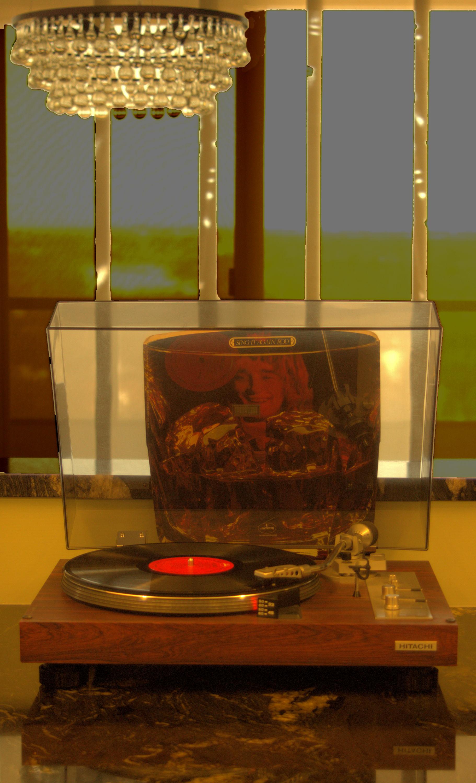 Vinyl forever. Rod Stewart LP ' Sing It Again Rod' on Hitachi turntable.