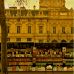 Book stand Paris. Book stand along the Seine River